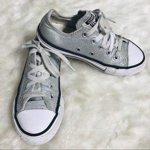 Converse All Stars Silver Glitter Sneakers Size 11